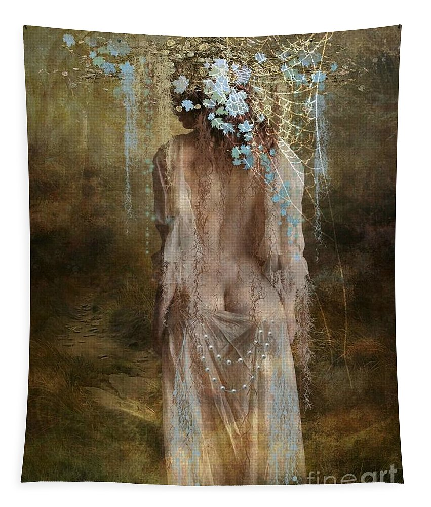 Fantasy Tapestry featuring the digital art Misty Woods by Ali Oppy