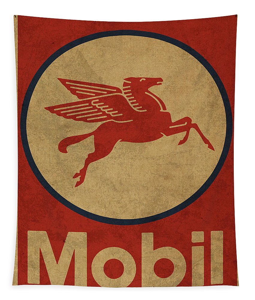 Mobil Tapestry featuring the mixed media Mobil Oil Gas Station Sign Vintage Art by Design Turnpike
