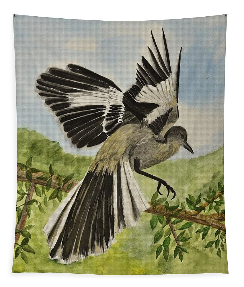 Lindabrody Tapestry featuring the painting Mockingbird Landing by Linda Brody