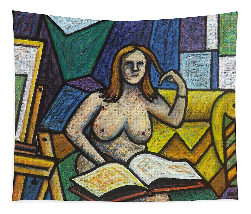 Bruce Bodden Tapestry featuring the drawing Model In Studio With Book by Bruce Bodden