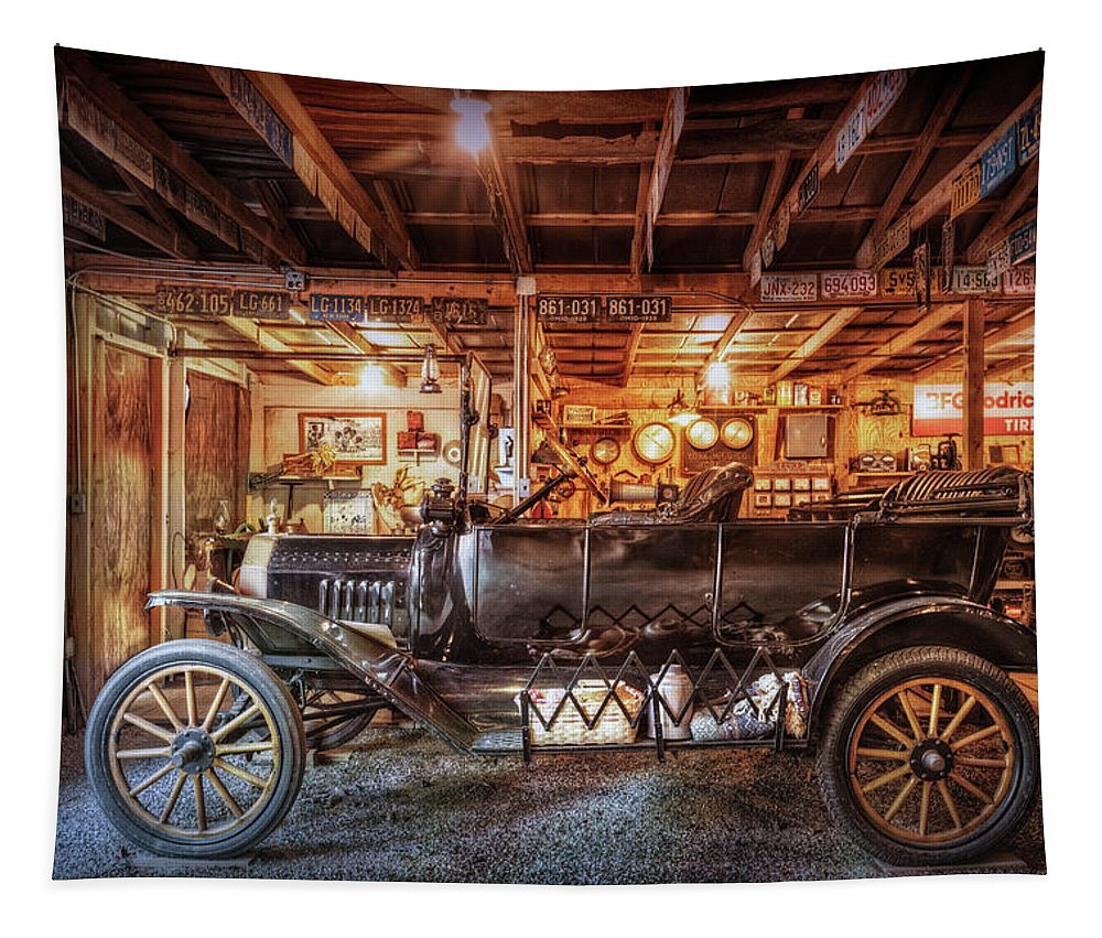 American Tapestry featuring the photograph Model T Ford by Debra and Dave Vanderlaan