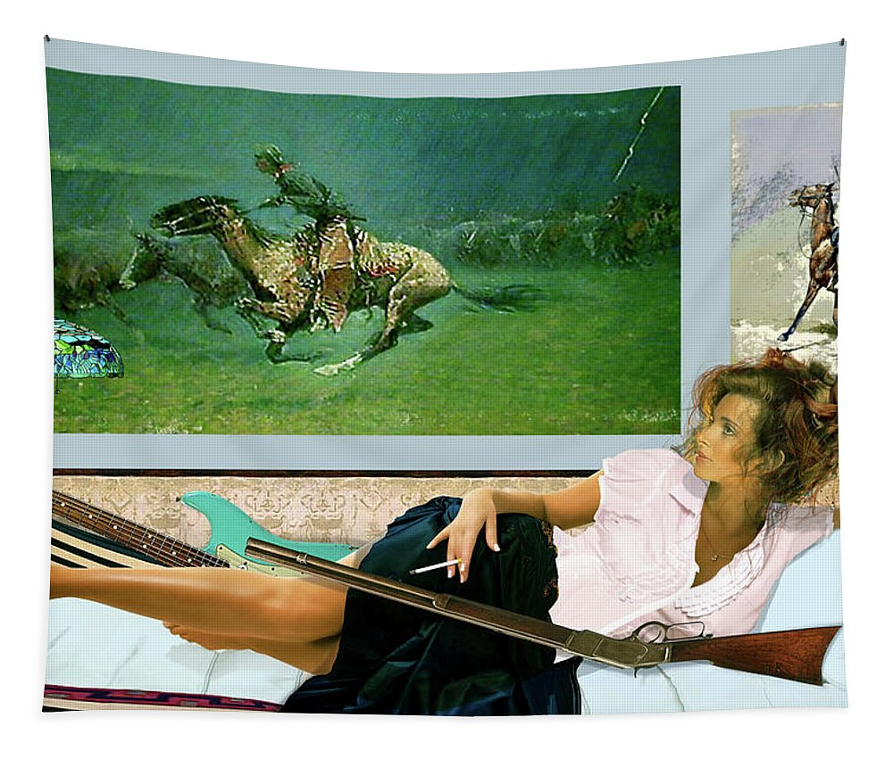 Model Tapestry featuring the mixed media Modeling, Frederick Remingtons, Stampede By Lightning, Advanced Guard by Thomas Pollart