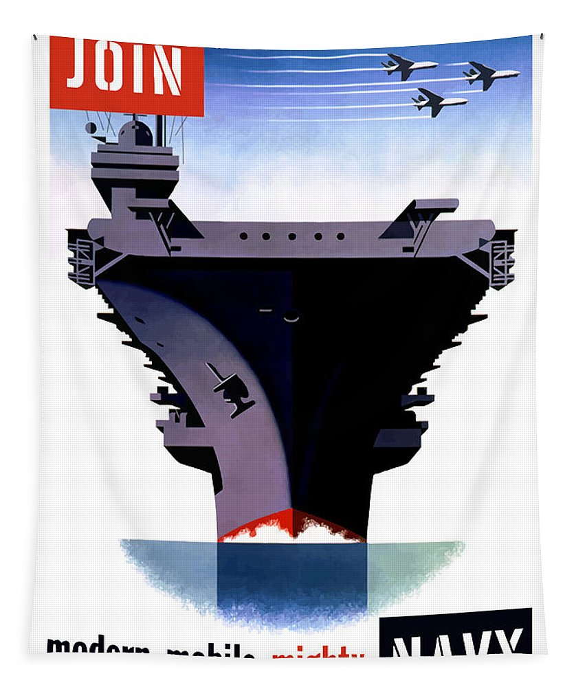 Ww2 Tapestry featuring the painting Modern Mobile Mighty Navy by War Is Hell Store