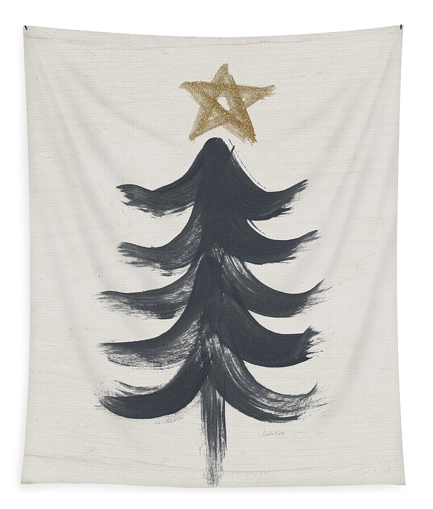 Contemporary Tapestry featuring the painting Modern Primitive Black and Gold Tree 1- Art by Linda Woods by Linda Woods