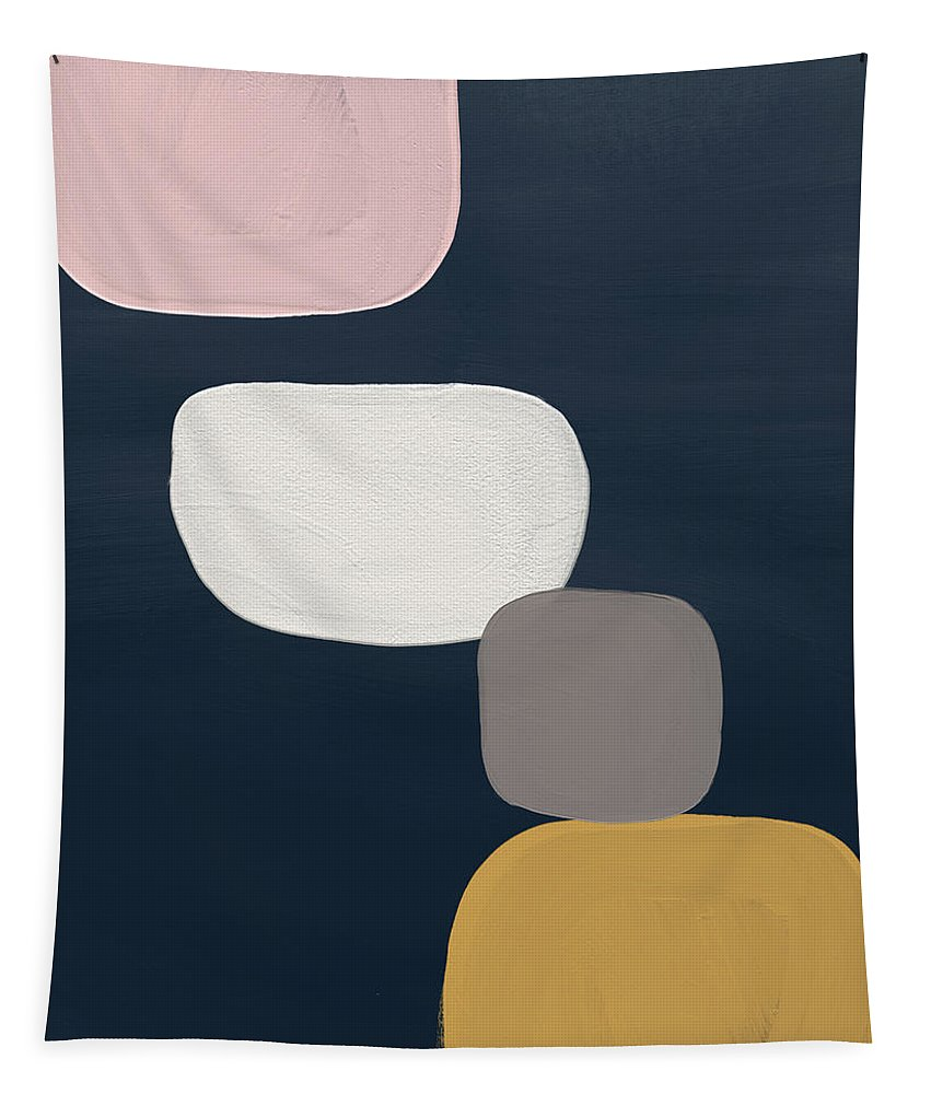 Modern Tapestry featuring the painting Modern Stones Navy 1- Art By Linda Woods by Linda Woods