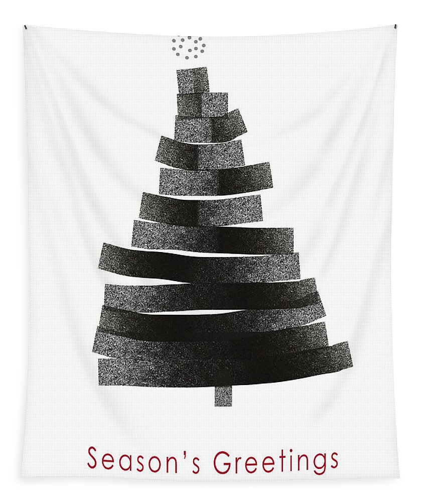 Modern Tapestry featuring the mixed media Modern Winter Tree- Season's Greetings Art By Linda Woods by Linda Woods