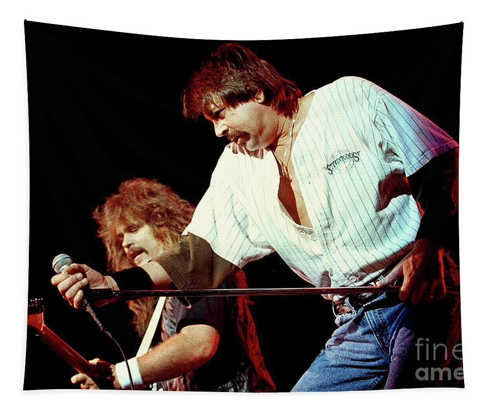 Molly Hatchet Tapestry featuring the photograph Molly Hatchet-93-danny-bobby-3698 by Gary Gingrich Galleries