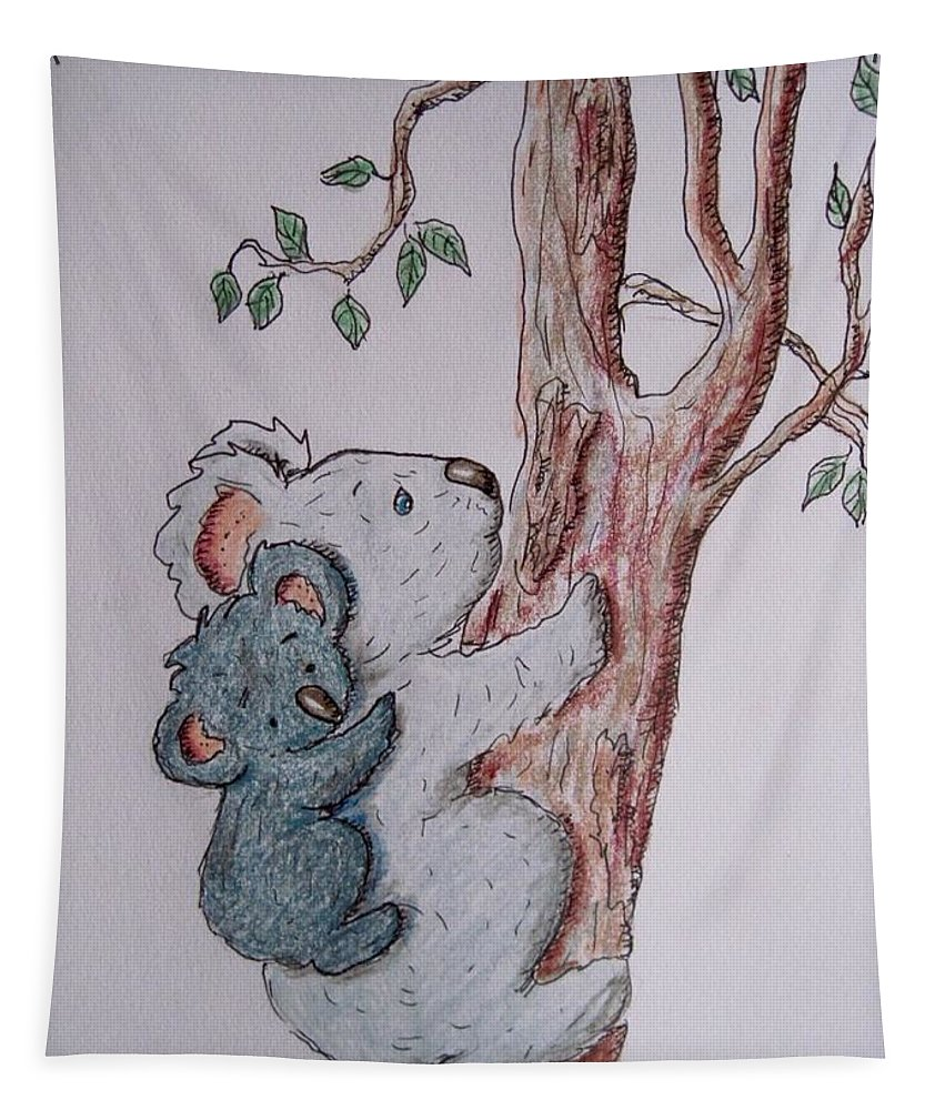 Koala Bears Tapestry featuring the drawing Momma And Baby Koala by Megan Walsh