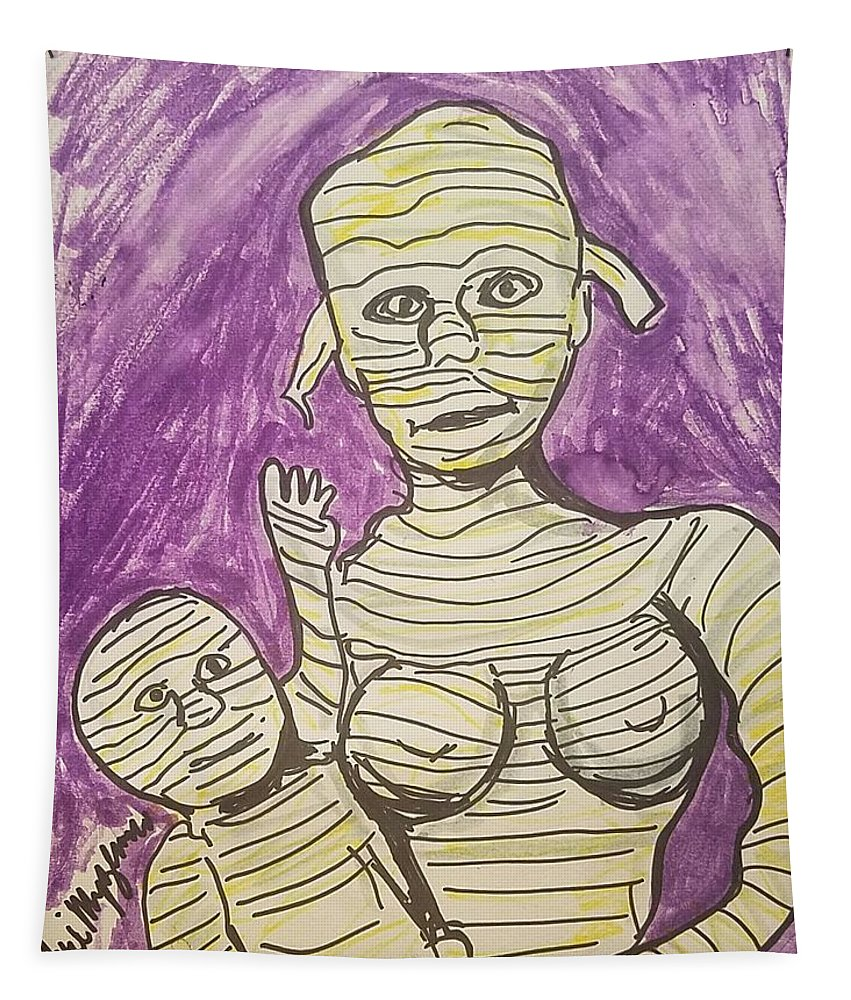 Mummy's Tapestry featuring the painting Mommyfied by Geraldine Myszenski