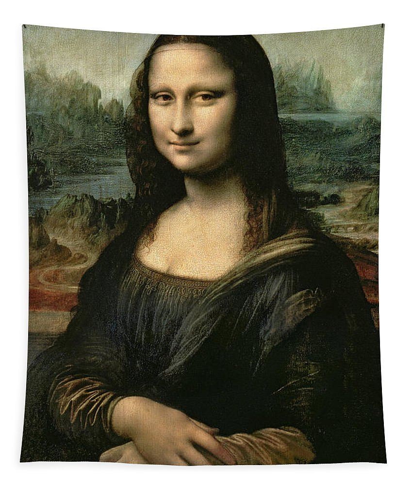 Mona Tapestry featuring the painting Mona Lisa by Leonardo da Vinci
