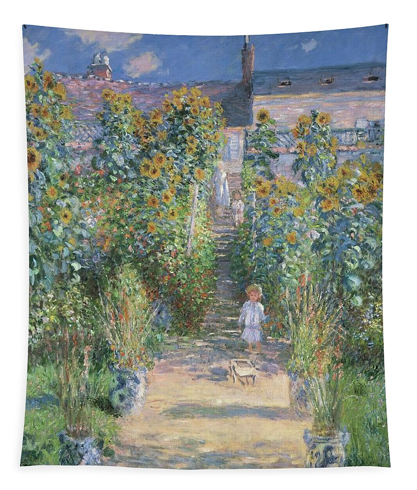 Claude Monet Tapestry featuring the painting Monet's Garden At Vetheuil by Claude Monet