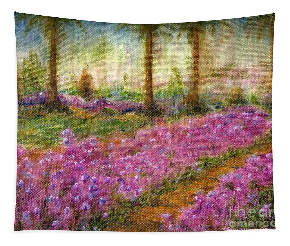 Monet Tapestry featuring the painting Monet's Garden in Cannes by Jerome Stumphauzer
