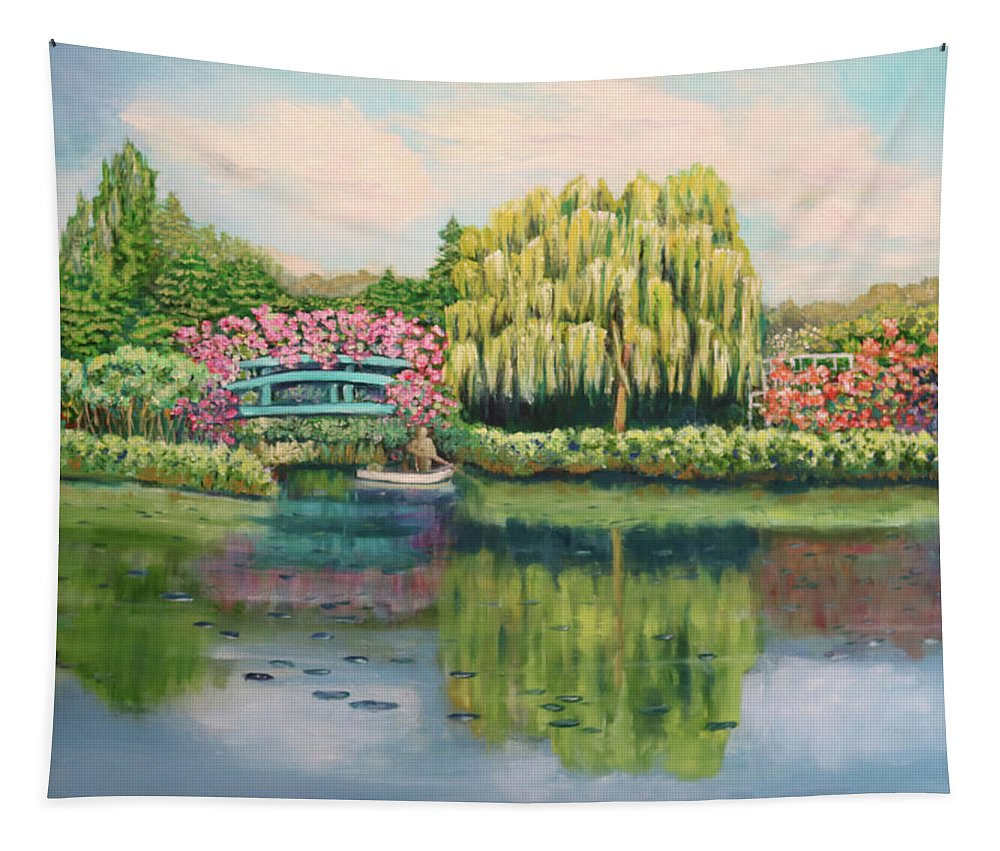 Landscape Tapestry featuring the painting Monet's Summer Garden No.2 by Carole Sluski