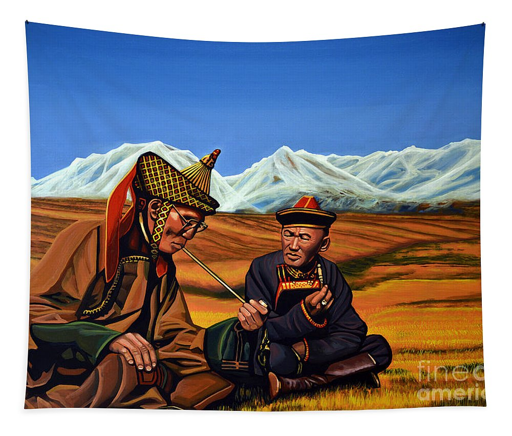 Mongolia Tapestry featuring the painting Mongolia Land Of The Eternal Blue Sky by Paul Meijering