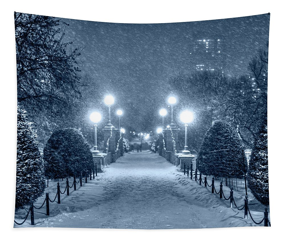 Boston Tapestry featuring the photograph Monochrome Blue Nights Boston Public Garden Snow Storm Ma Massachusetts Bridge Lights by Toby McGuire