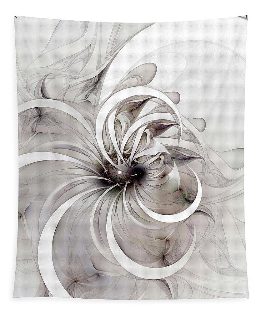 Digital Art Tapestry featuring the digital art Monochrome flower by Amanda Moore