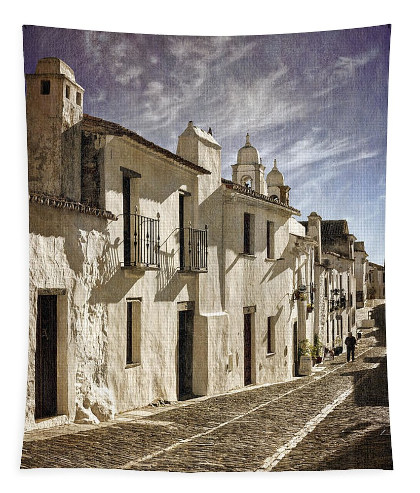 Portugal Tapestry featuring the photograph Monsaraz Sepia Street by Mikehoward Photography
