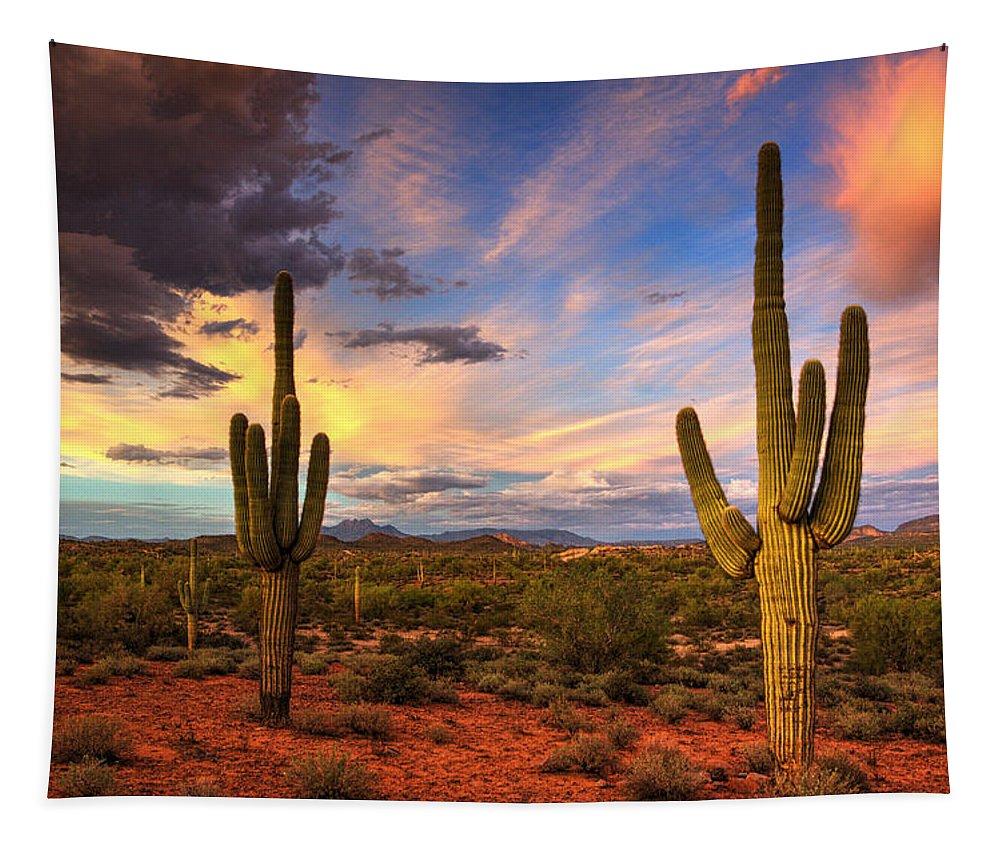 Saguaro Sunset Tapestry featuring the photograph Monsoon Desert Sunset by Saija Lehtonen