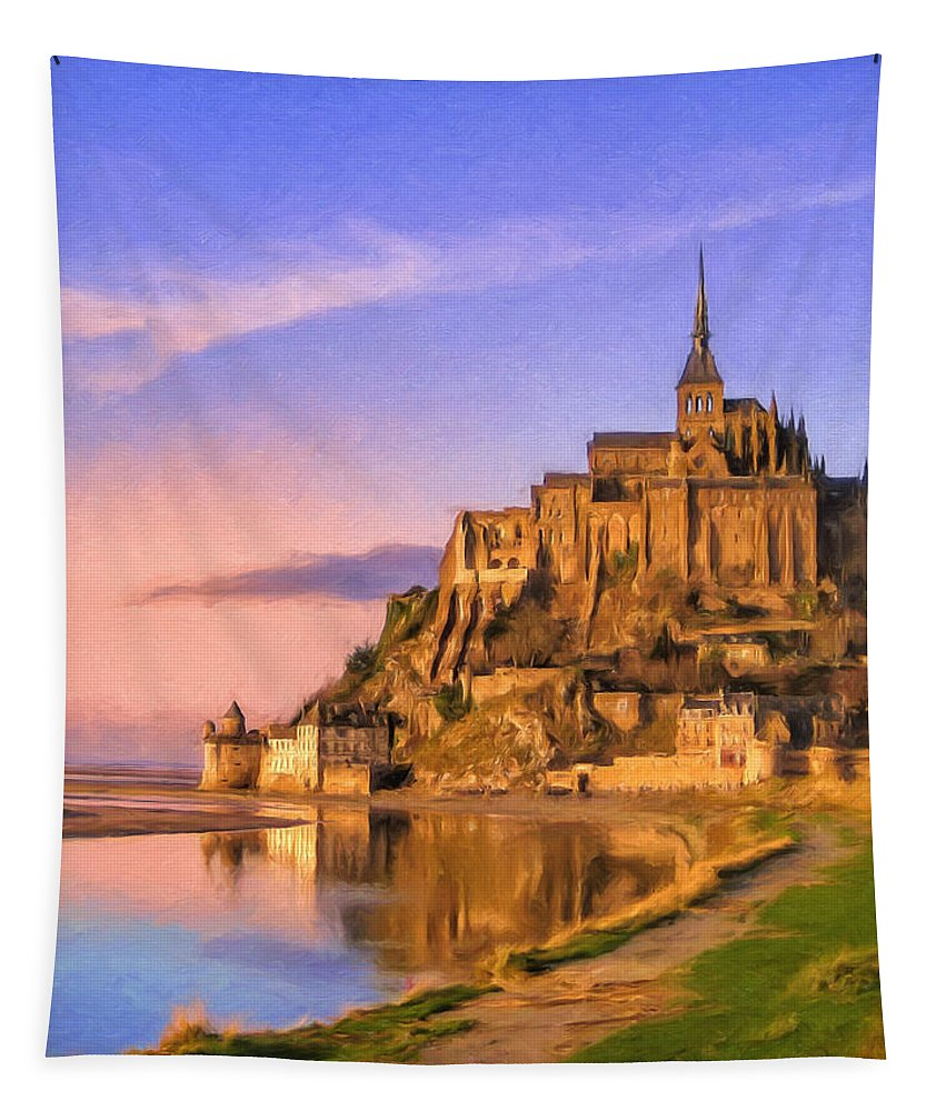 Mont-saint-michel Tapestry featuring the painting Mont Saint Michel At Sunrise by Dominic Piperata