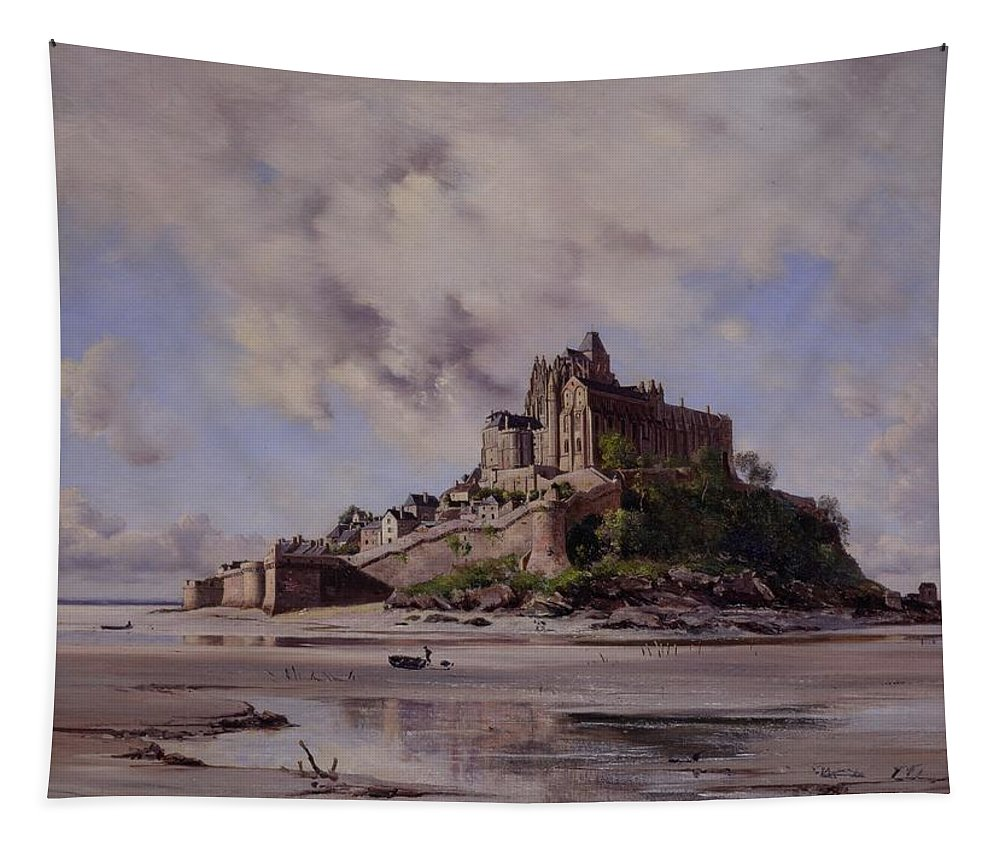 Mont Saint-michel Tapestry featuring the painting Mont Saint Michel by Emmanuel Lansyer