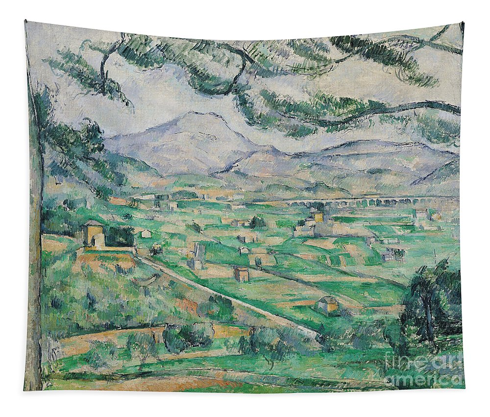 Montagne Tapestry featuring the painting Montagne Sainte Victoire by Paul Cezanne