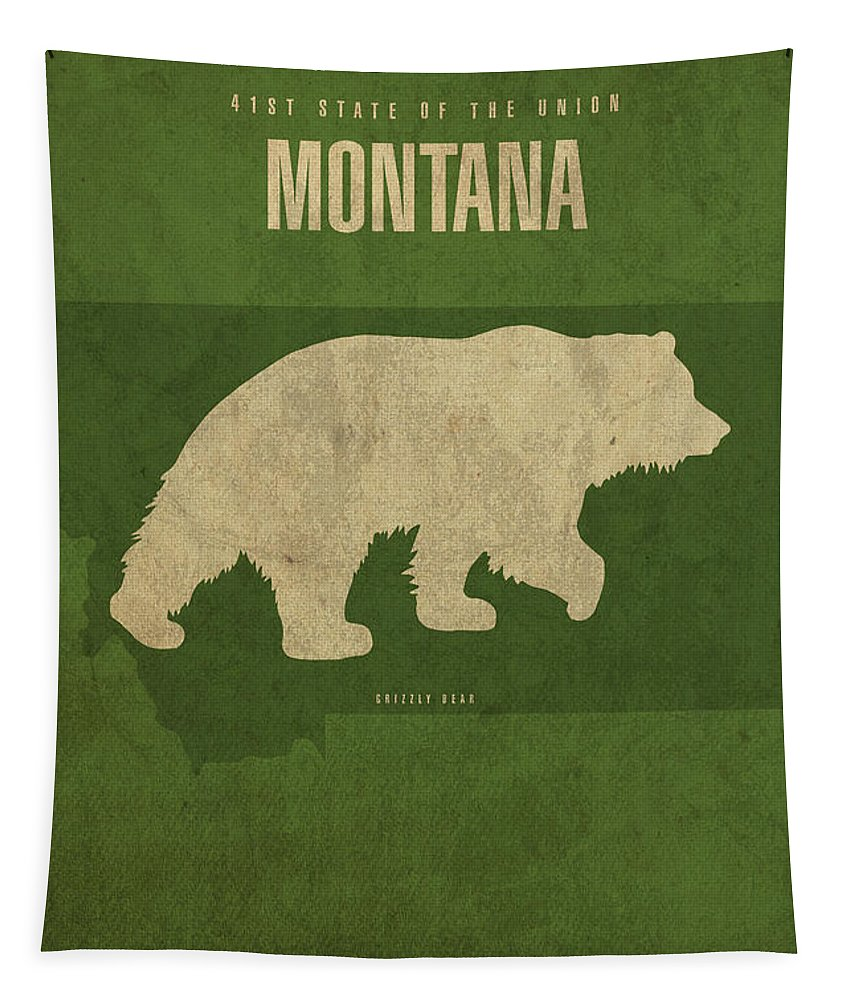 Montana Tapestry featuring the mixed media Montana State Facts Minimalist Movie Poster Art by Design Turnpike