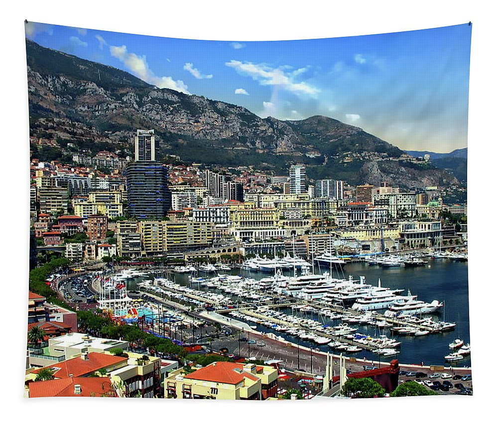 Port Tapestry featuring the photograph Monte Carlo Harbor View by Anthony Dezenzio