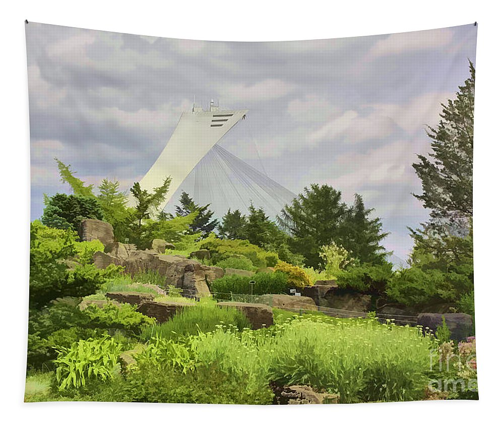 Montreal Tapestry featuring the photograph Montreal Biodome Backdrop by Deborah Benoit