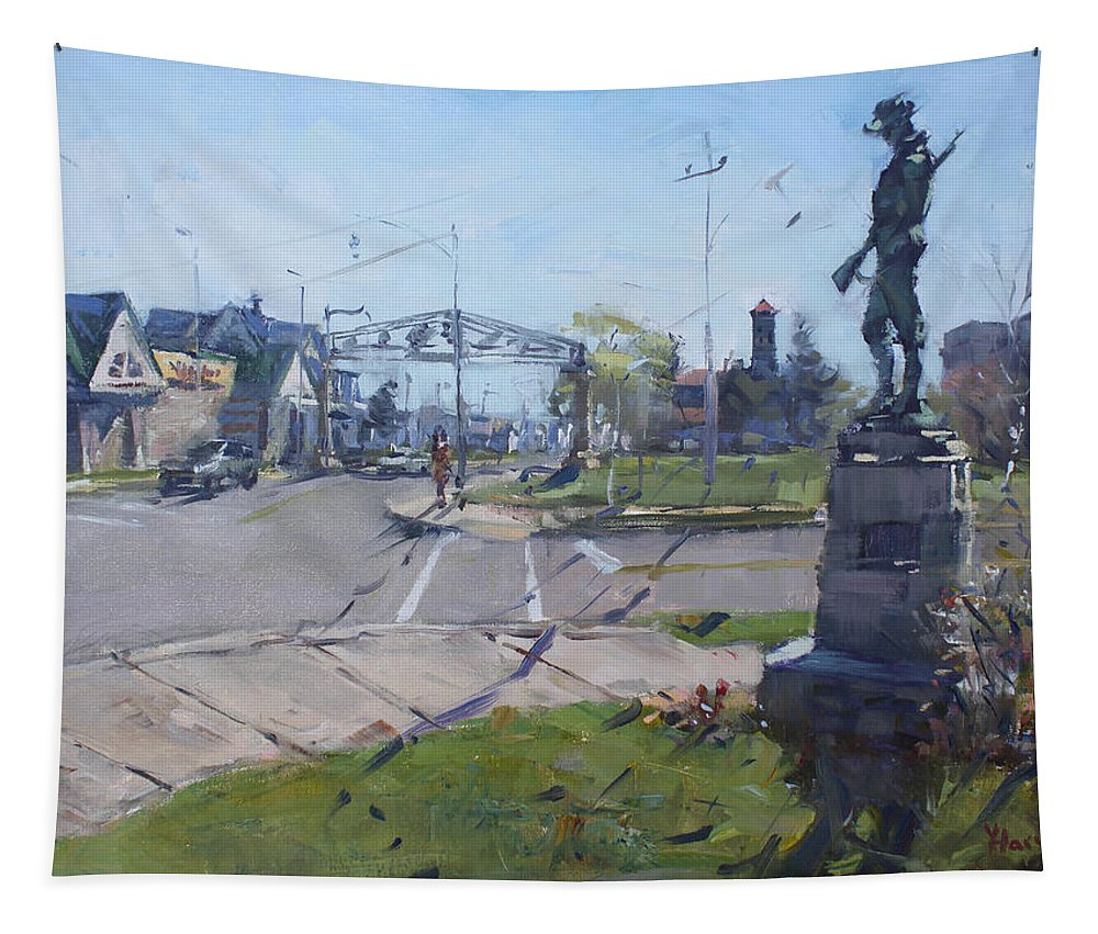 Monument Tapestry featuring the painting Monument At Pine Ave And Portage Rd by Ylli Haruni