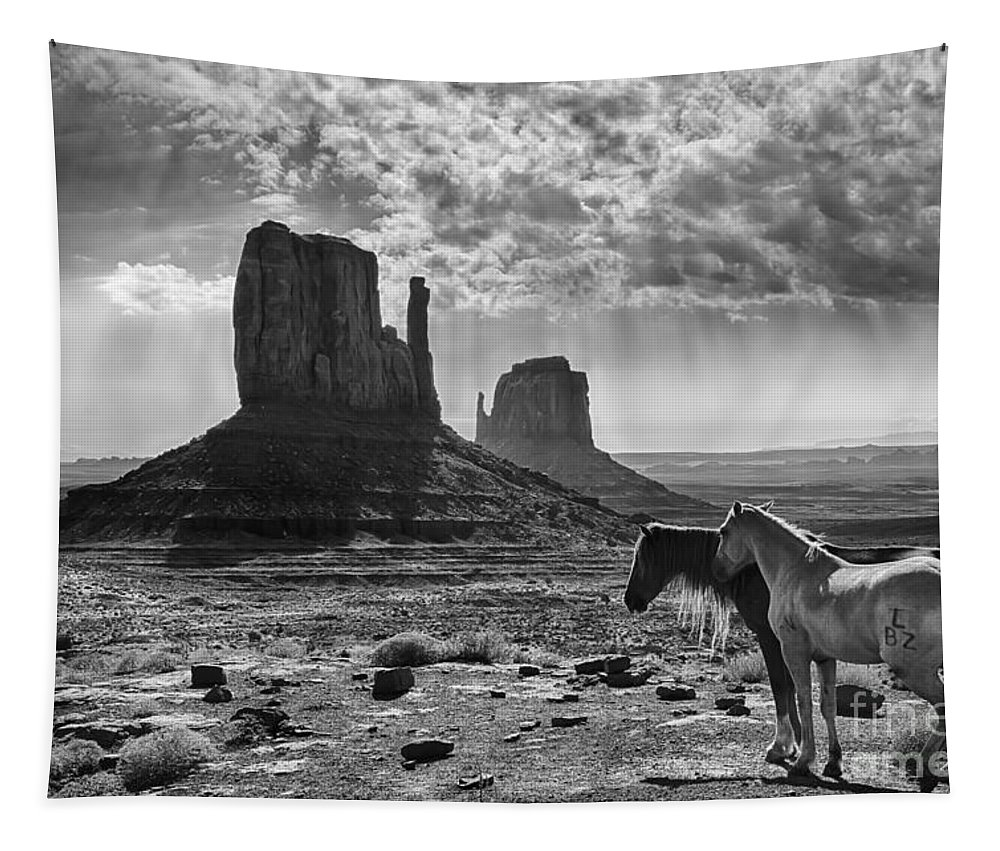 Monument Valley Horses Tapestry featuring the photograph Monument Valley Horses by Priscilla Burgers