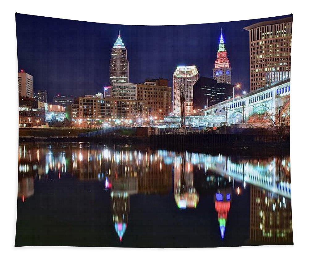 Cleveland Tapestry featuring the photograph Mood Lighting by Frozen in Time Fine Art Photography