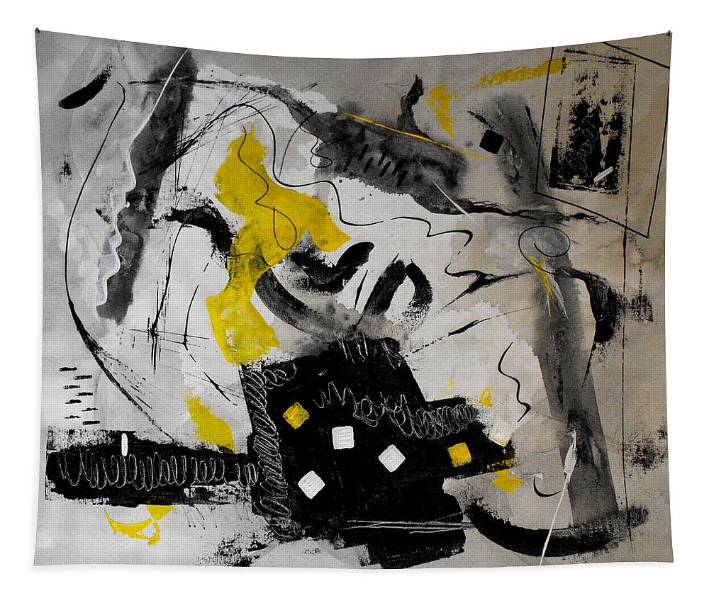 \ruth Palmer\ Tapestry featuring the painting Moods Yellow Let It All Hang Out by Ruth Palmer
