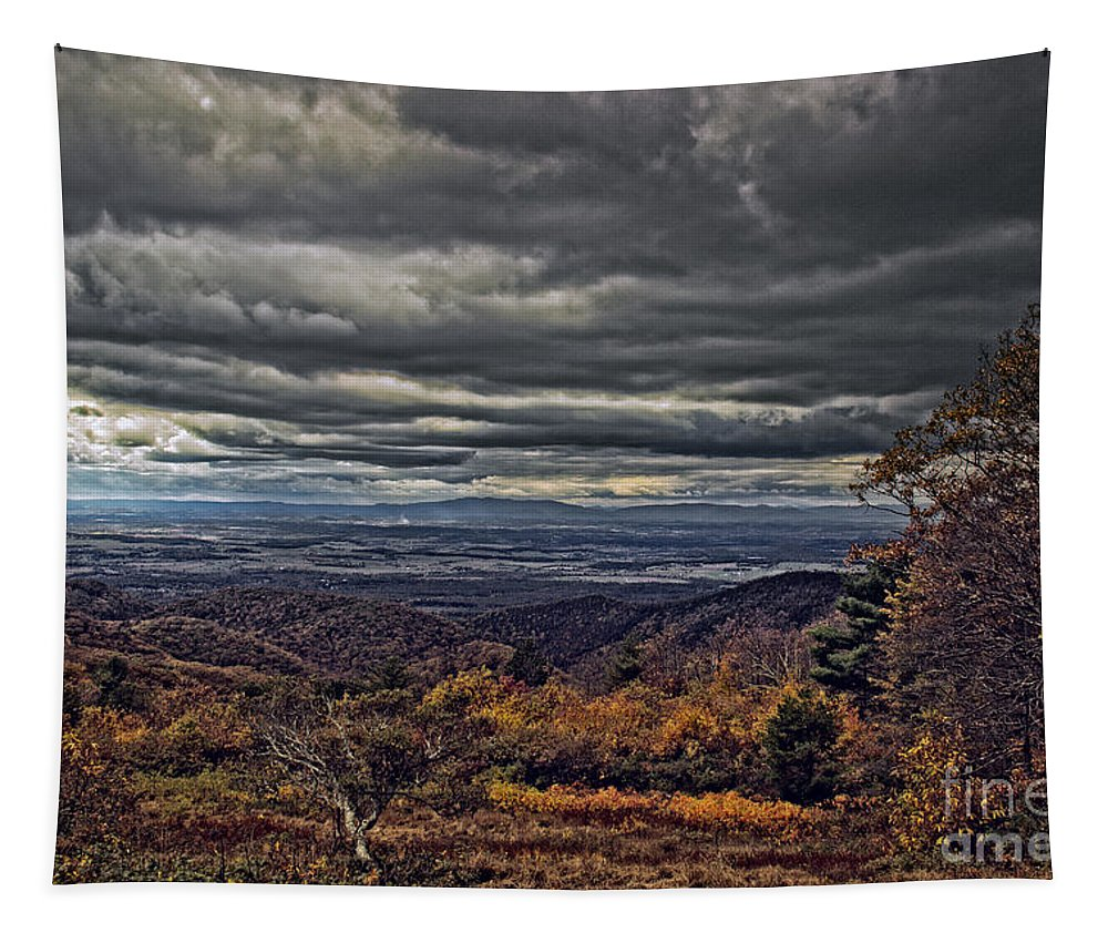 Nature Tapestry featuring the photograph Moody Mountain View by Tom Gari Gallery-Three-Photography