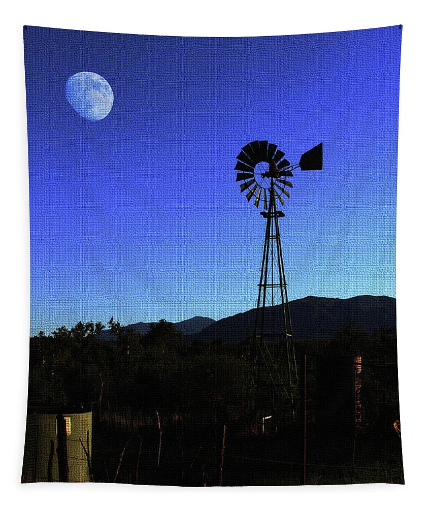 Moon And Windmill Tapestry featuring the photograph Moon And Windmill by Tom Janca