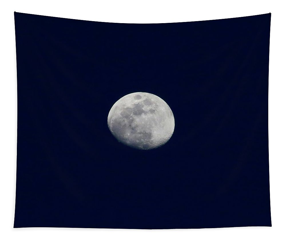 Sky Tapestry featuring the photograph Moon At Dusk by Bobbie Moller