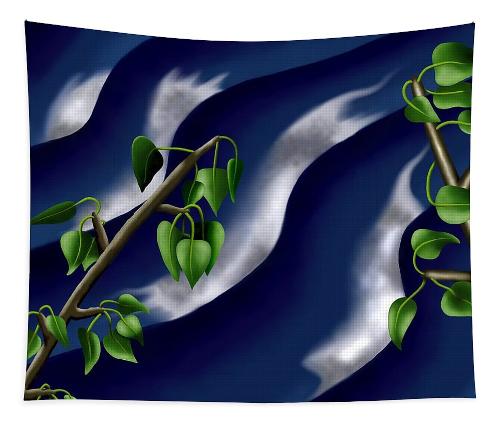 Surrealism Tapestry featuring the digital art Moon-glow I - Poplars Over Water At Night by Robert Morin