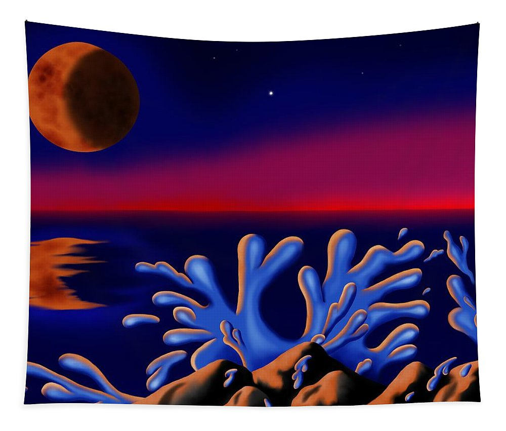 Surrealism Tapestry featuring the digital art Moon-glow II by Robert Morin