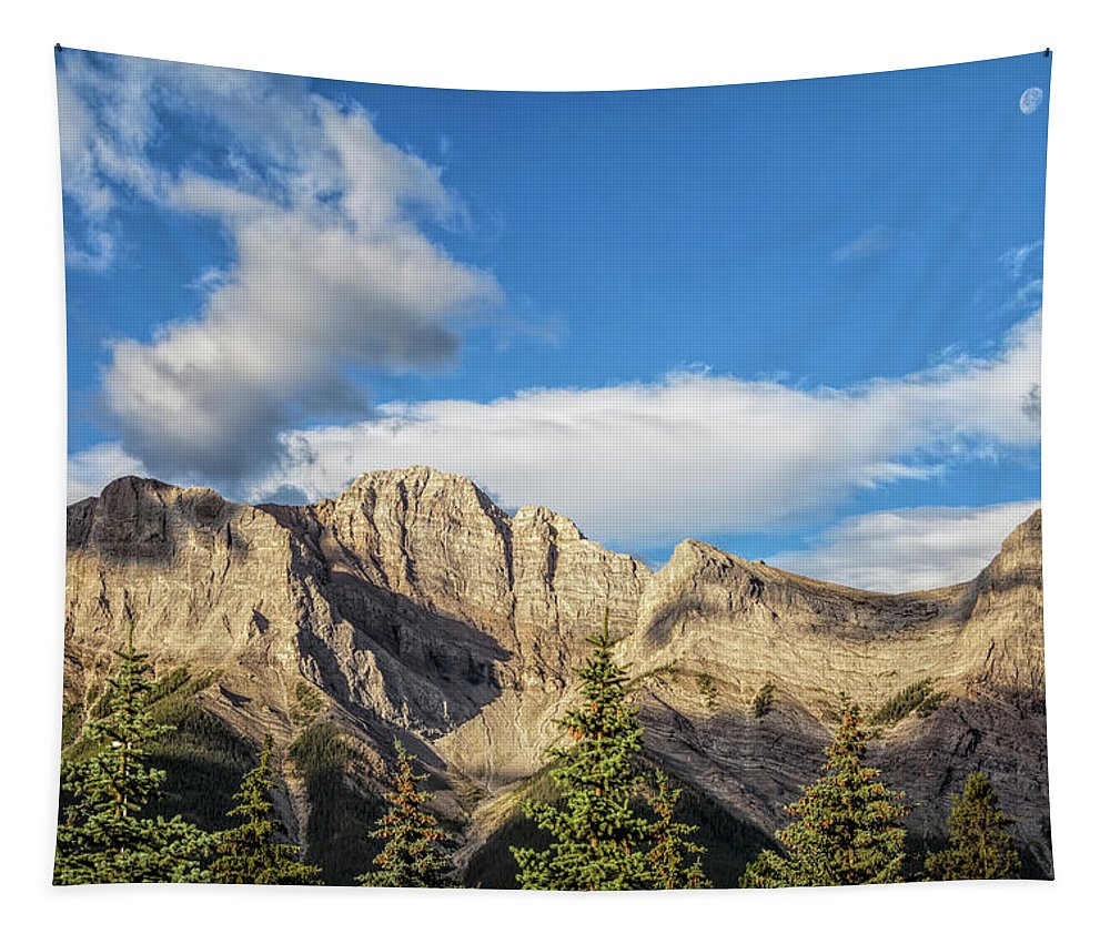 Joan Carroll Tapestry featuring the photograph Moon Over Canmore Alberta by Joan Carroll