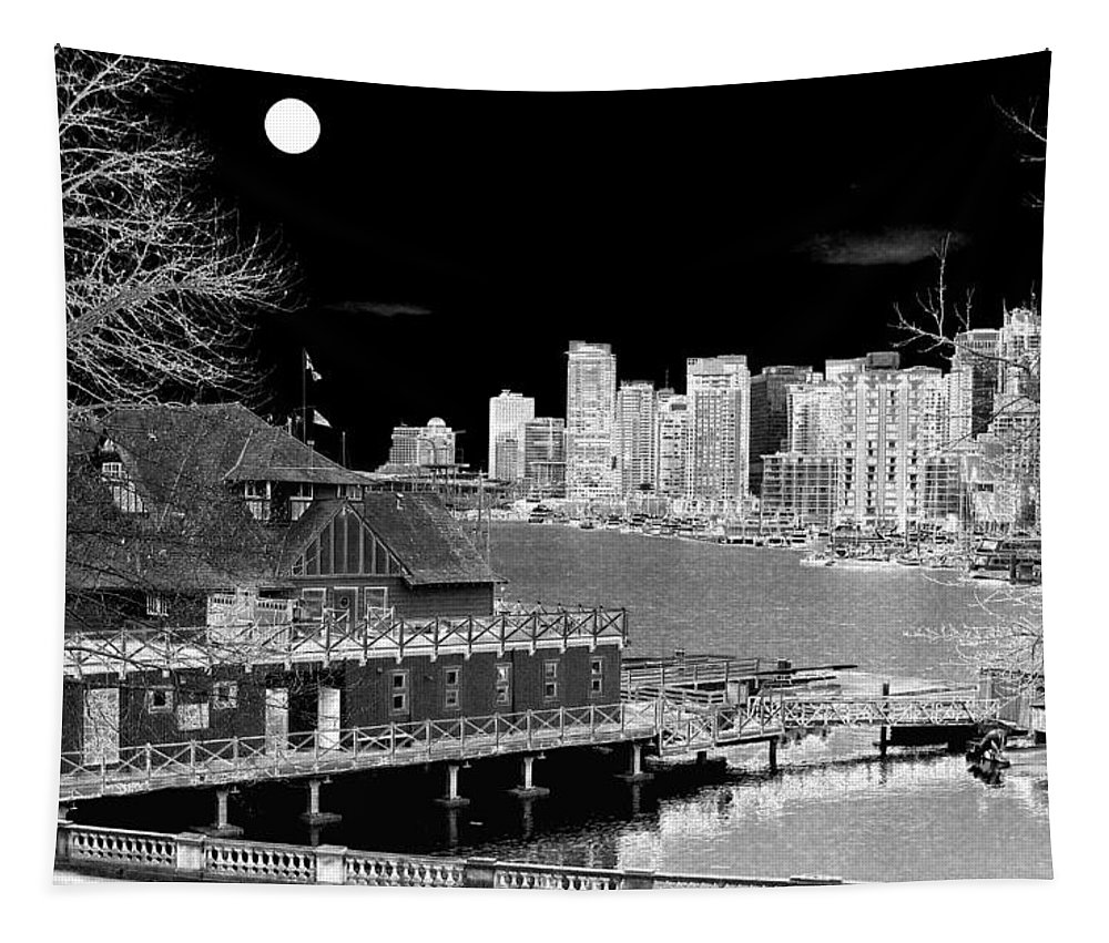 Moon Tapestry featuring the digital art Moon Over Vancouver by Will Borden