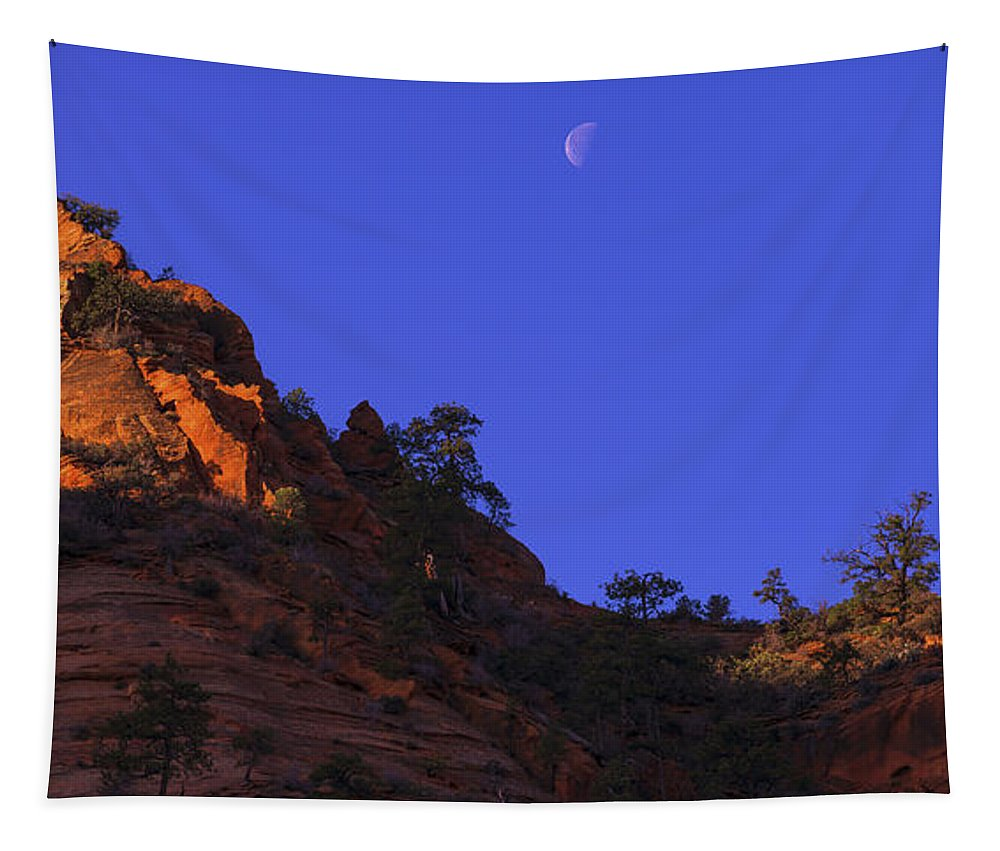 Moon Over Zion Tapestry featuring the photograph Moon Over Zion by Chad Dutson