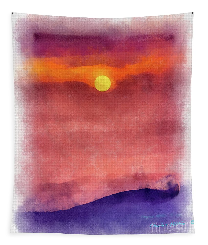 Water Tapestry featuring the painting Moon Rise In Aquarelle by Charles Muhle