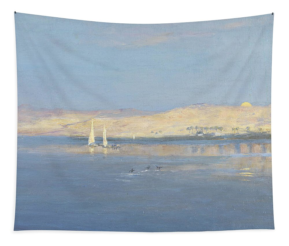 Nile Tapestry featuring the painting Moon Rising Over The Nile, 1900 by William James