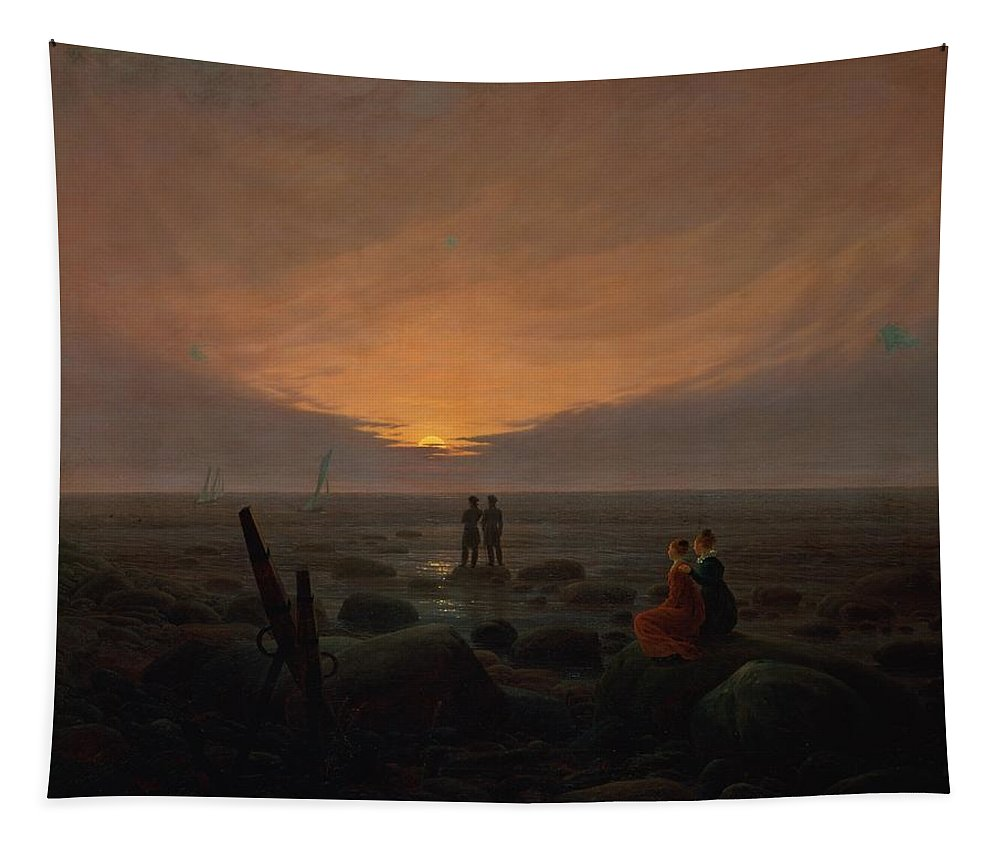 Moon Tapestry featuring the painting Moon Rising Over The Sea by Caspar David Friedrich
