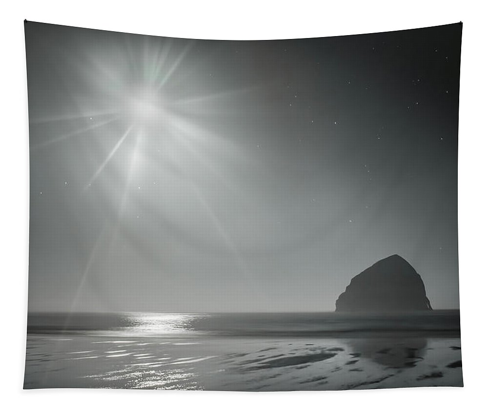 Night Tapestry featuring the photograph Moonbeams Over Pacific Beach by Don Schwartz