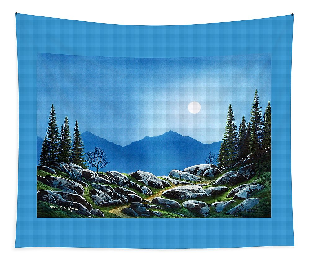 Landscape Tapestry featuring the painting Moonlight Hike by Frank Wilson