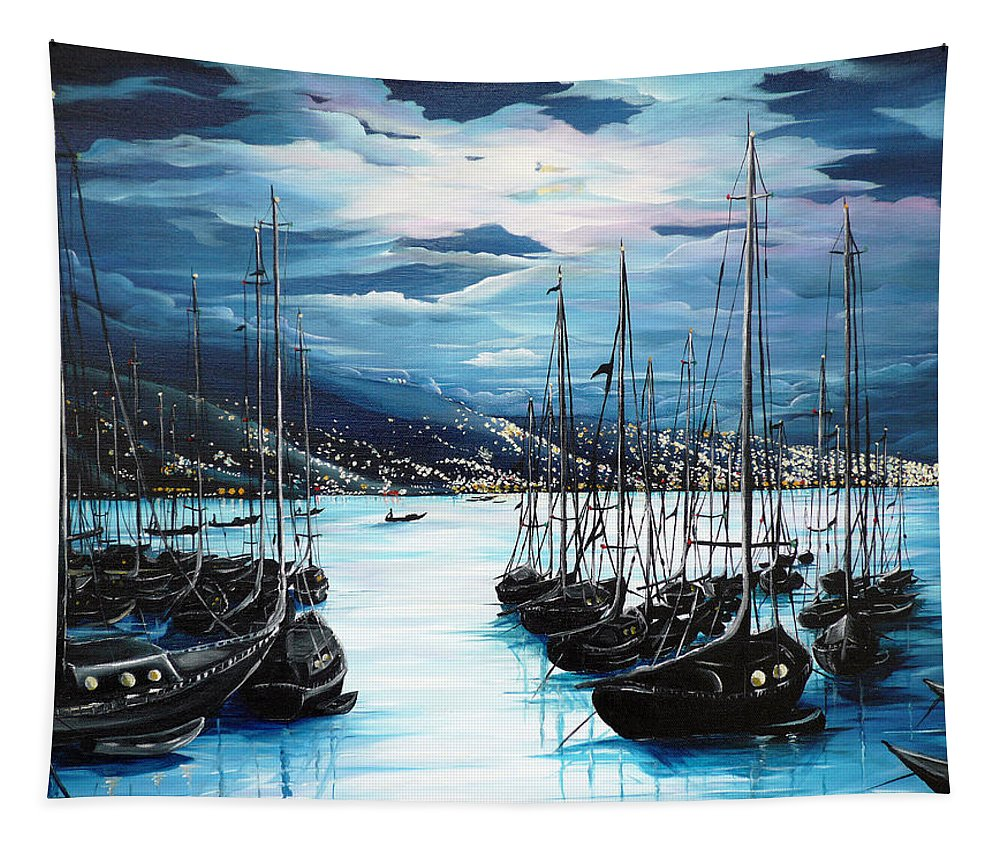 Ocean Painting  Caribbean Seascape Painting Moonlight Painting Yachts Painting Marina Moonlight Port Of Spain Trinidad And Tobago Painting Greeting Card Painting Tapestry featuring the painting Moonlight Over Port Of Spain by Karin Dawn Kelshall- Best