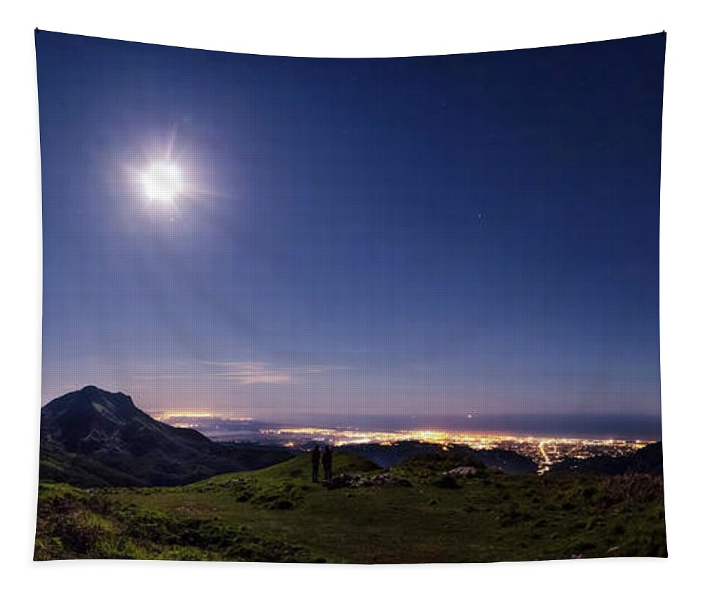 Moon Tapestry featuring the photograph Moonlight Panorama by Matteo Viviani