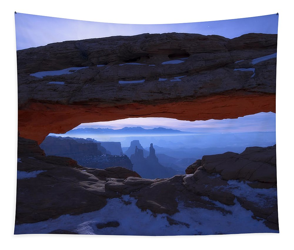 Moonlit Mesa Tapestry featuring the photograph Moonlit Mesa by Chad Dutson