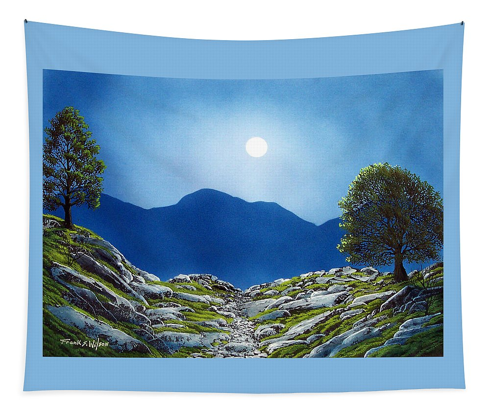 Landscape Tapestry featuring the painting Moonrise by Frank Wilson