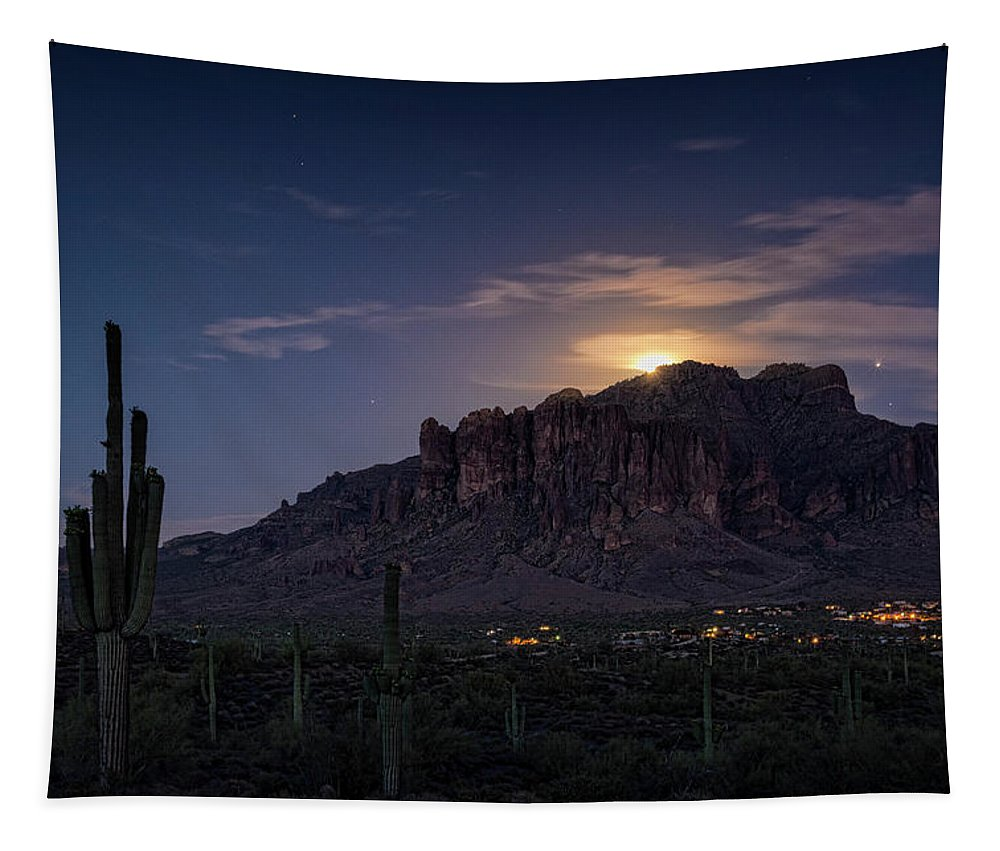 Moonrise Tapestry featuring the photograph Moonrise Over The Superstitions by Saija Lehtonen